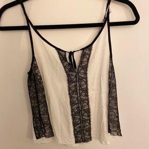 Zara black and white lace tank top - S